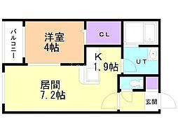 仮)豊平8-8MS 4階1LDKの間取り