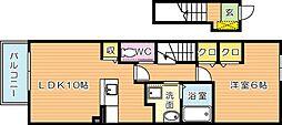 福岡県北九州市若松区藤ノ木3丁目の賃貸アパートの間取り