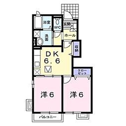 JR信越本線 篠ノ井駅 バス23分 松代高校下車 徒歩10分の賃貸アパート 1階2DKの間取り