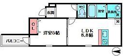 フジパレス中宮III番館 3階1LDKの間取り