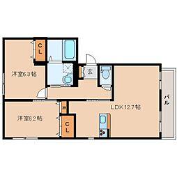 JR関西本線 王寺駅 バス10分 星和台2丁目下車 徒歩2分の賃貸アパート 1階2LDKの間取り