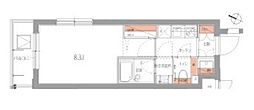 JR山手線 品川駅 徒歩9分の賃貸マンション 2階1Kの間取り