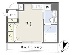 京王線 初台駅 徒歩8分の賃貸マンション 2階ワンルームの間取り