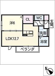 レセンテ上野 A[2階]の間取り