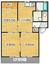 グリ−ンパルク都府楼B棟[2階]の間取り