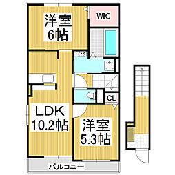 長野県松本市大字南浅間の賃貸アパートの間取り