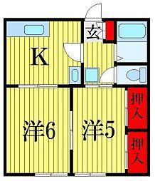 プランドールI・S東アパート A棟[2階]の間取り