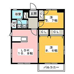 グレイスハイムII[1階]の間取り