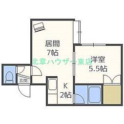 北海道札幌市東区北十八条東18の賃貸アパートの間取り