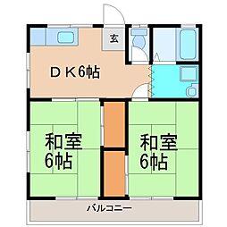 東御門第1コーポ[2階]の間取り