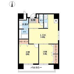 富士プラザ5[13階]の間取り