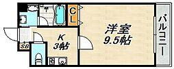 ラ・メゾンクレール弐番館 6階1Kの間取り