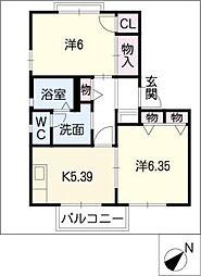 タウニーKATOIII[1階]の間取り