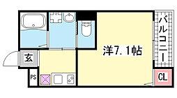 ワコーレヴィータ新神戸[101号室]の間取り