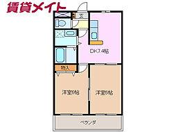 三岐鉄道北勢線 阿下喜駅 徒歩23分の賃貸マンション 1階2DKの間取り