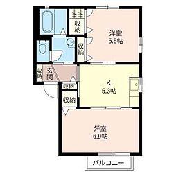 フレアパレスC[2階]の間取り