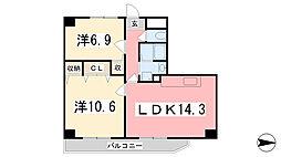 キャッスルコート東辻井[804号室]の間取り