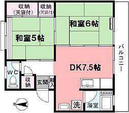 津田コーポ[303号室]の間取り
