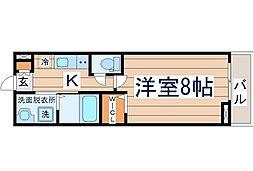 ウルス花京院A 3階1Kの間取り