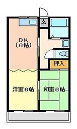 JR片町線(学研都市線) 住道駅 徒歩32分の賃貸マンション 4階2DKの間取り