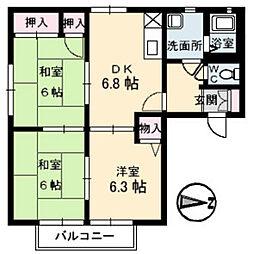 広島県広島市南区向洋大原町の賃貸アパートの間取り
