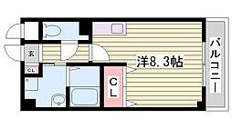神戸市西神・山手線 伊川谷駅 徒歩2分の賃貸アパート 2階ワンルームの間取り