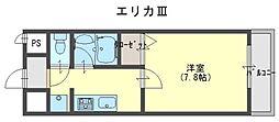 大阪府貝塚市橋本の賃貸マンションの間取り