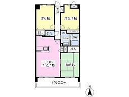 京成本線 志津駅 徒歩10分の賃貸マンション 2階3LDKの間取り