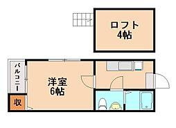 シャローム竹下[1階]の間取り
