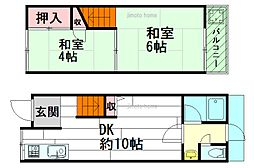 [テラスハウス] 大阪府吹田市岸部中1丁目 の賃貸【/】の間取り