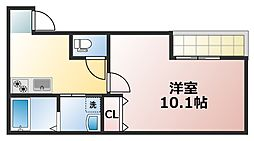 Osaka Metro中央線 深江橋駅 徒歩11分の賃貸マンション 2階1Kの間取り
