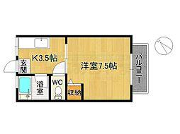 シティハイム水城コーポ 2階1Kの間取り