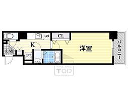 Luxe東三国α 2階1Kの間取り