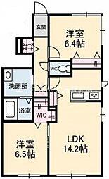 岡山県岡山市北区十日市中町の賃貸アパートの間取り