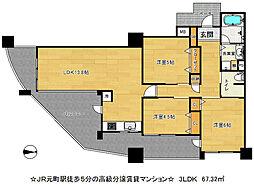 セレッソコート神戸花隈公園[6階]の間取り