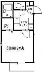 神奈川県横浜市鶴見区東寺尾東台の賃貸アパートの間取り