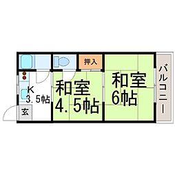 兵庫県尼崎市上坂部2丁目の賃貸マンションの間取り
