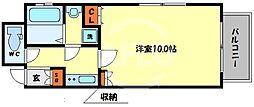 アクティ北浜 12階1Kの間取り