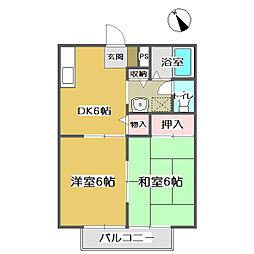 広島県福山市本庄町中4の賃貸アパートの間取り
