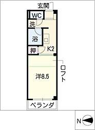 ソレアードM 3階ワンルームの間取り