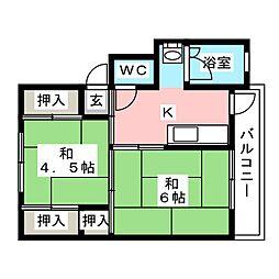 ビレッジハウス小田1[1階]の間取り