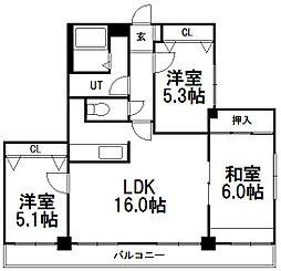 北海道札幌市豊平区月寒東二条3丁目の賃貸マンションの間取り