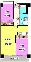 東京都練馬区下石神井2丁目の賃貸マンションの間取り