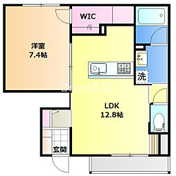 JR宇野線 妹尾駅 徒歩16分の賃貸アパート 1階1LDKの間取り
