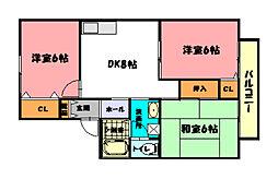 ドエルサンセット[1階]の間取り