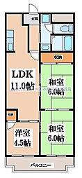 レジデンシア吉田[3階]の間取り