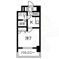 名古屋市営鶴舞線 大須観音駅 徒歩8分の賃貸マンション 7階1Kの間取り