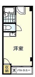 東京ビル6 1階ワンルームの間取り