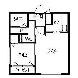 北海道札幌市北区北二十六条西3丁目の賃貸マンションの間取り