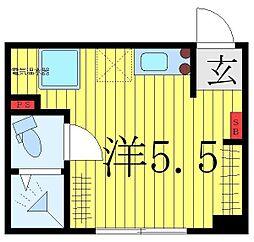 Glanz目白II 4階ワンルームの間取り